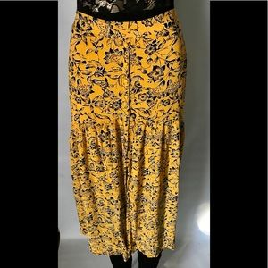 Just Fab Black & Yellow Floral Long Skirt